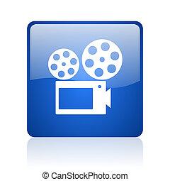 cinema blue square glossy web icon on white background