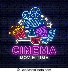 Cinema bright neon sign.