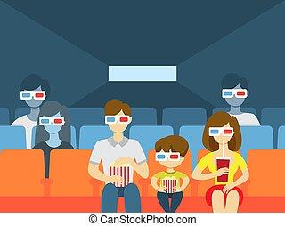 Cinema building interior. - People in cinema theater. People...