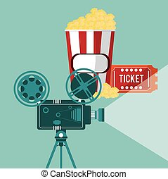 cinema camera film projector ticket and pop corn vector...