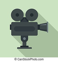 Cinema camera icon, flat style
