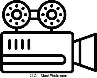 Cinema camera icon, outline style