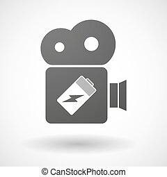 Cinema camera icon with a battery