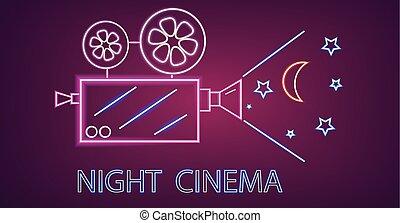 Cinema camera neon symbols Vector. Glowing sign dark background. Shinning billboard template