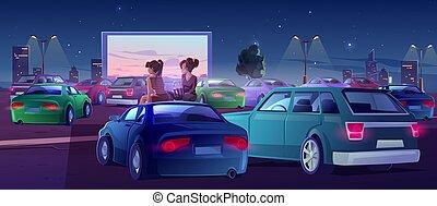 cinema, car, teatro, meninas, cinema ao ar livre, amigos