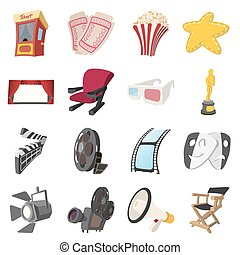 Cinema cartoon icons set
