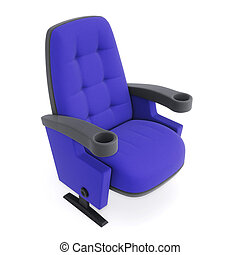 Cinema chair isolated on white background. Blue armchair closeup. 3d illustration.