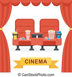 cinema chairs curtains