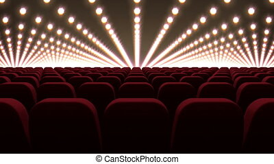 Cinema chairs in front of red lights