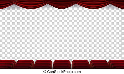 Cinema Chairs Vector. Film, Movie, Theater, Auditorium With Red Seat, Row Of Chairs. Blank Screen. Isolated On Transparent Background Illustration