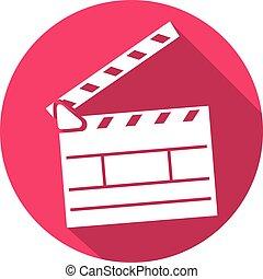 cinema clapboard flat icon