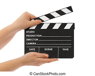Cinema clapboard in hands isolated on white background