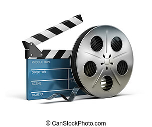 cinema clapper and film tape - Cinema clapper and film tape...