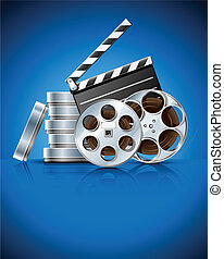 cinema clapper and video film tape on disc vector...