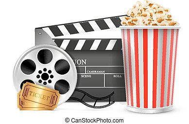 Cinema clapper film reel drink popcorn and tickets. Isolated...