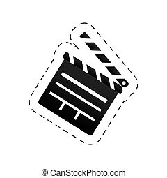 cinema clapper movie image - cut line vector illustration...