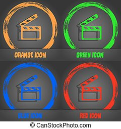 Cinema Clapper sign icon. Video camera symbol. Fashionable modern style. In the orange, green, blue, red design. Vector