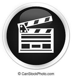 Cinema clip icon black glossy round button