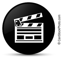 Cinema clip icon black round button