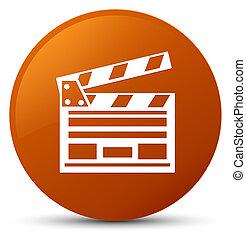 Cinema clip icon brown round button