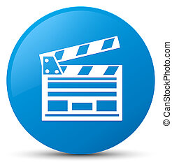 Cinema clip icon cyan blue round button