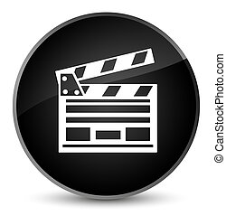 Cinema clip icon elegant black round button