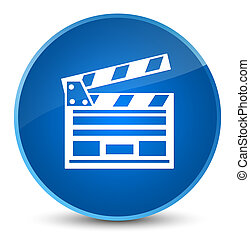 Cinema clip icon elegant blue round button