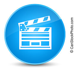 Cinema clip icon elegant cyan blue round button