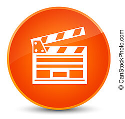 Cinema clip icon elegant orange round button