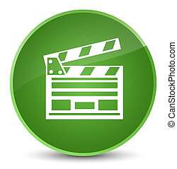 Cinema clip icon elegant soft green round button