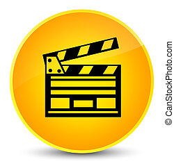 Cinema clip icon elegant yellow round button