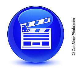 Cinema clip icon glassy blue round button