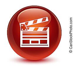 Cinema clip icon glassy brown round button