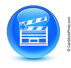 Cinema clip icon glassy cyan blue round button