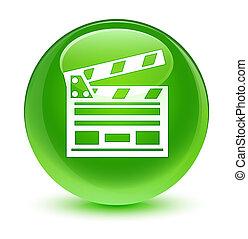 Cinema clip icon glassy green round button