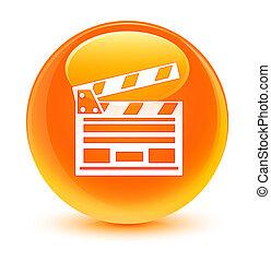 Cinema clip icon glassy orange round button