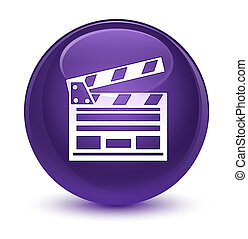 Cinema clip icon glassy purple round button