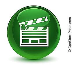 Cinema clip icon glassy soft green round button