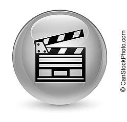 Cinema clip icon glassy white round button