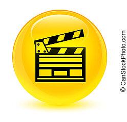 Cinema clip icon glassy yellow round button