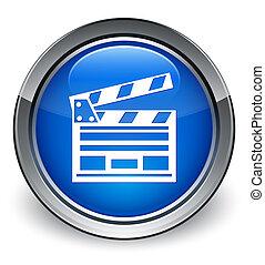 Cinema clip icon glossy blue button
