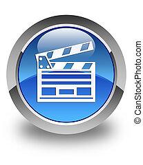 Cinema clip icon glossy blue round button
