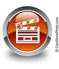 Cinema clip icon glossy brown round button