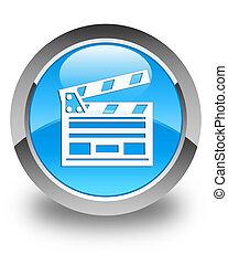 Cinema clip icon glossy cyan blue round button