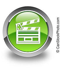 Cinema clip icon glossy green round button