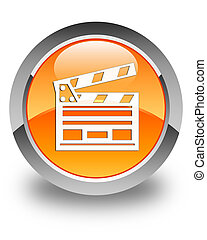 Cinema clip icon glossy orange round button