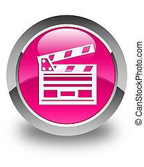 Cinema clip icon glossy pink round button