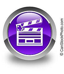 Cinema clip icon glossy purple round button