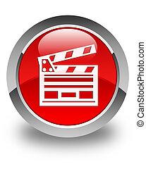 Cinema clip icon glossy red round button