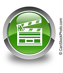 Cinema clip icon glossy soft green round button